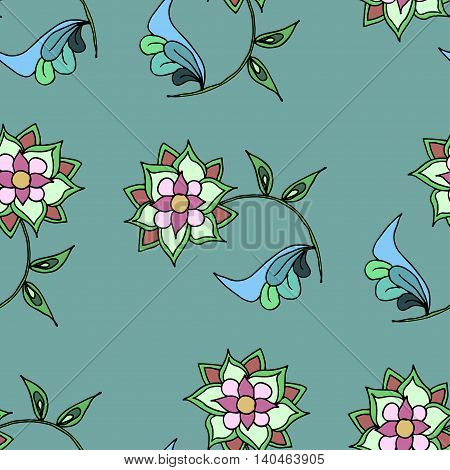 hand drawn seamless patern with green flowers