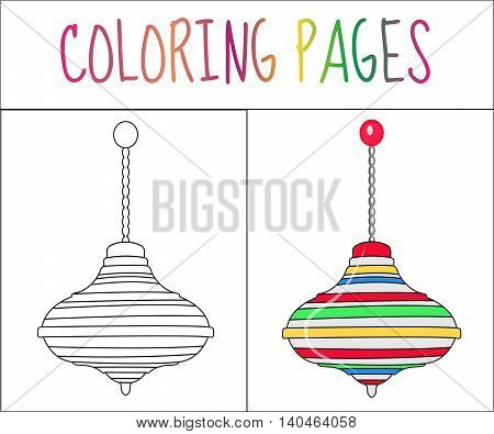 Coloring book page. whirligig toy. Sketch and color version. Coloring for kids. Vector illustration