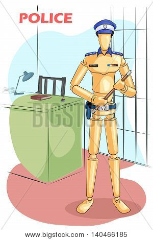 Wooden human mannequin Police with stick. Vector illustration