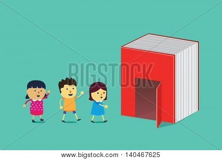 Kids walking into the door of big book. This illustration is a concept about reading and education