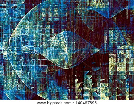 Abstract Background Net And Curls -  Digitally Generated Image