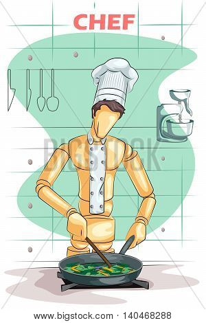 Wooden human mannequin Chef cooking in kitchen. Vector illustration