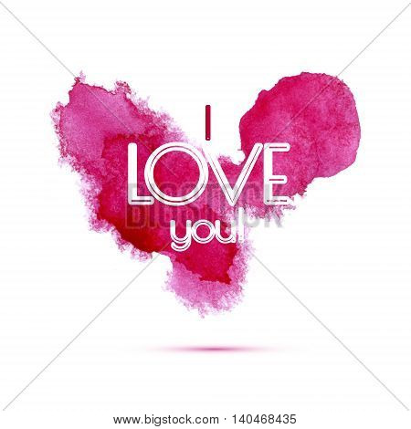 Vector lovely watercolor heart. Pink hand drawn stain artwork.