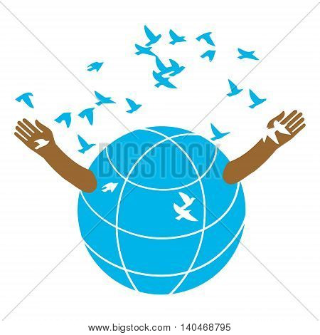 The globe opens the arms of the flock of birds. Logo. Illustration. A symbolic image of peace. Kindness and love.