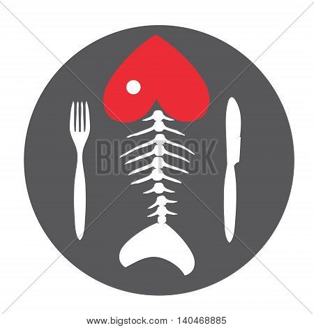 Love to fish. Fish skeleton.fish bone on chalkboard with Cutlery .Vector illustration.