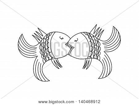 Illustration depicting two kissing fish. Cute funny  color vector illustration