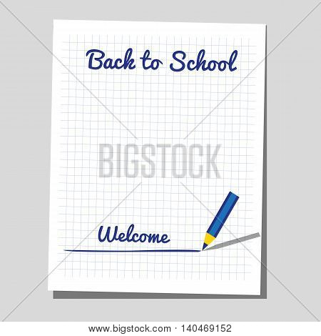 Back to school banner concept. Idea for typography welcome poster with element of border frame. Announcement to start study. Greeting card invitation to school background. Vector illustration
