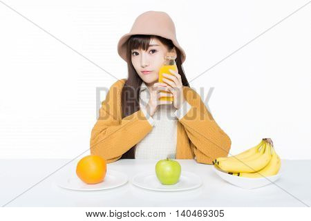 Female Student And Her Fruit And Milk