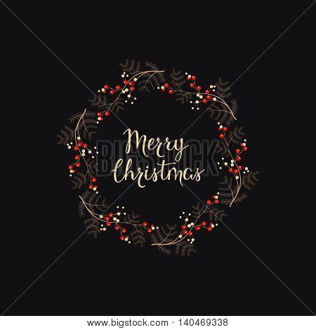 vector holiday background with hand drawn words merry christmas in a wreath with berries