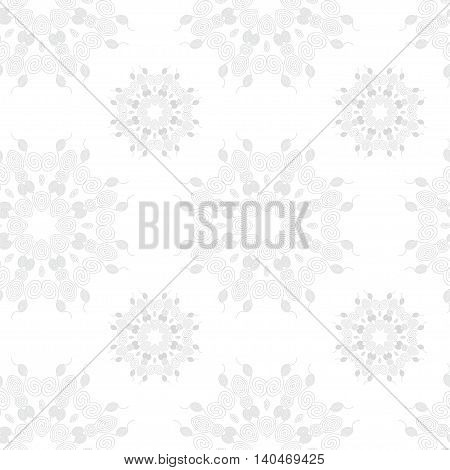 Ethnic geometric seamless pattern with round ornaments. Vector ornamental background print design