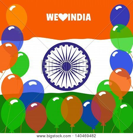 India republic independence. National holiday. Independence day celebration concept. Colors of Indian tricolor flag with Ashoka Chakra. Unique symbols. Patriotic event background. Vector illustration