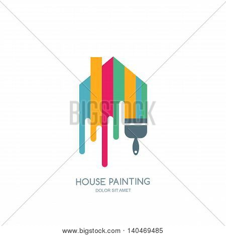 House Painting Service, Decor And Repair Multicolor Icon. Vector Logo, Label, Emblem Design.