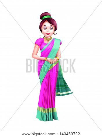 A woman in a pink sari with green border