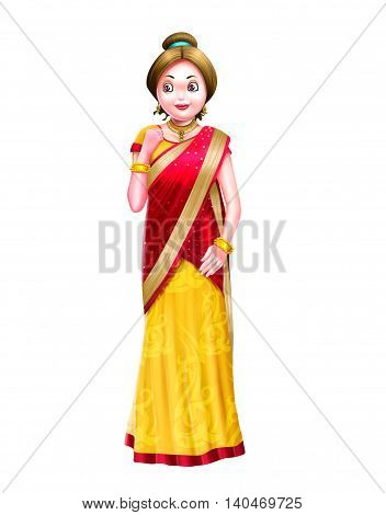 Women wearing a yellow and red combination sari