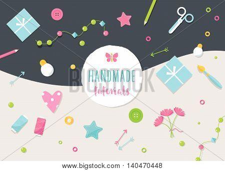 Handmade Tutorials and Workshops Banner. Arts, Crafts and Tools Flat Vector Illustration.