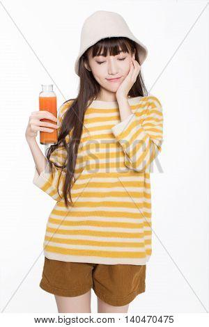 Pretty Girl Drinking Juice