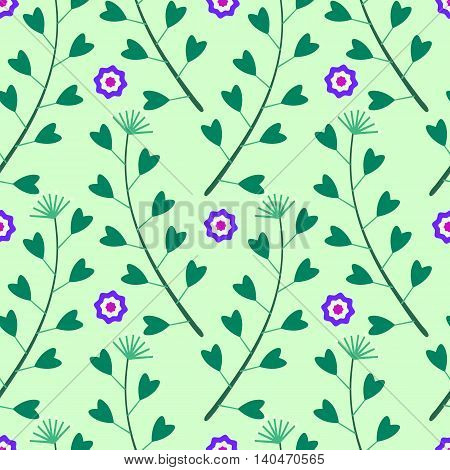 Seamless pattern with flowers and green grass on a green background.Leaves heart-shaped.Bright summer patterns.Vector illustration for fabric, textile, scrapbooking, wrapping paper.