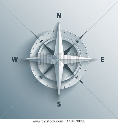 Paper Wind rose in 3d and origami style. Modern compass icon illustration.