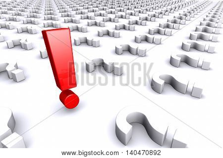 3D illustration of Red exclamation mark standing out from white question marks