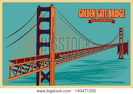 Vintage poster of Golden Gate Bridge in California, famous monument of United States. Vector illustration
