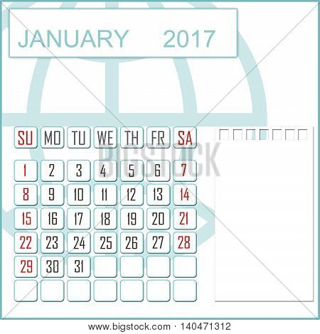 Abstract design 2017 calendar with note space for january month