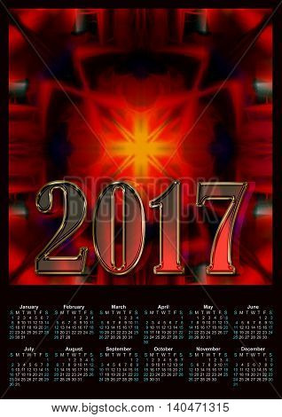 Abstract modern red colors 2017 calendar design printablу