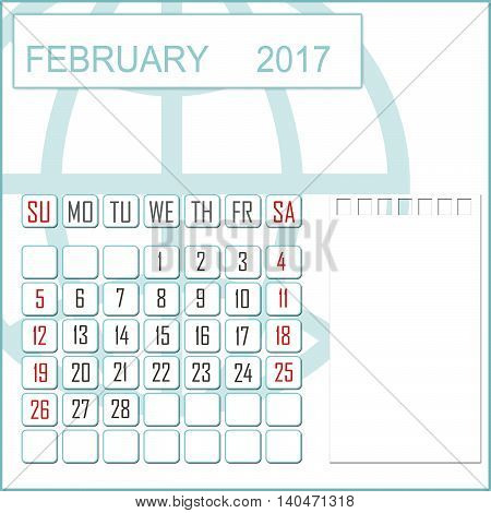 Abstract design 2017 calendar with note space for february month