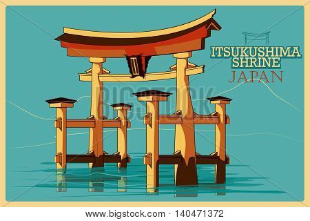 Vintage poster of Itsukushima Shrine in Hatsukaichi, famous monument of Japan. Vector illustration
