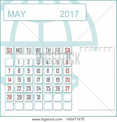 Abstract design 2017 calendar with note space for may month