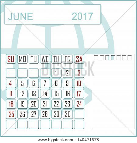 Abstract design 2017 calendar with note space for june month
