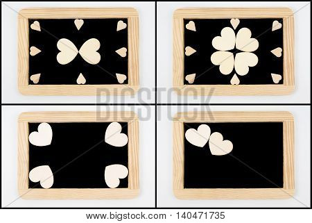 Vintage Chalkboards With Wooden Frame Isolated On White