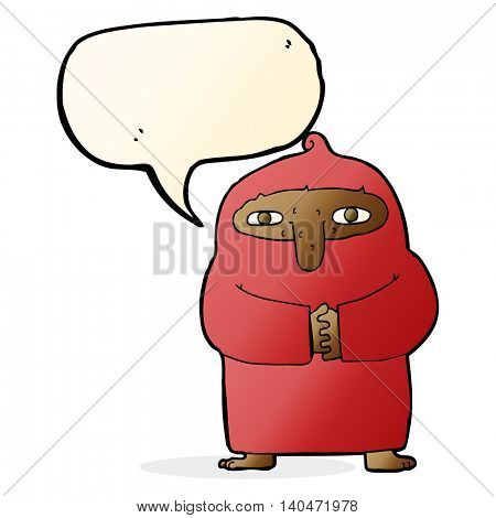 cartoon monk in robe with speech bubble