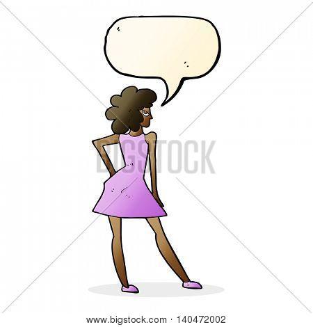 cartoon woman posing in dress with speech bubble