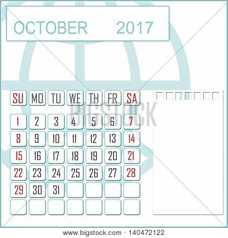 Abstract design 2017 calendar with note space for october month