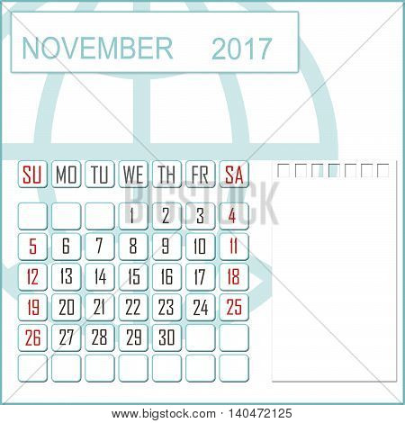 Abstract design 2017 calendar with note space for november month