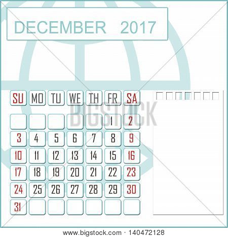 Abstract design 2017 calendar with note space for december month
