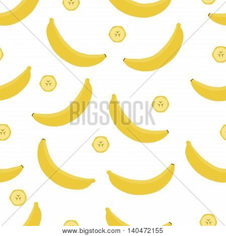 Bananas and sliced pieces on white background. Seamless pattern. Vector illustration.