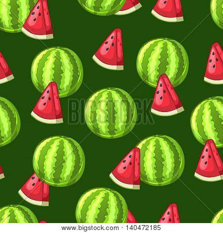 Watermelon whole and sliced pieces on a green background. Seamless pattern. Vector illustration.