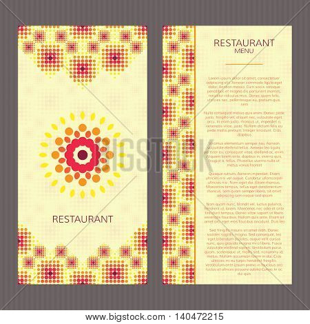 Two vector cards. Bright invitations template. Restaurant menu in halftone bright design.