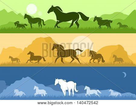Landscape with sunset, dawn and silhouettes of horses