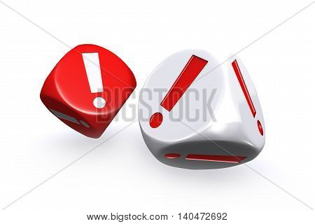 3D illustration of Red and white exclamation mark dices on white background