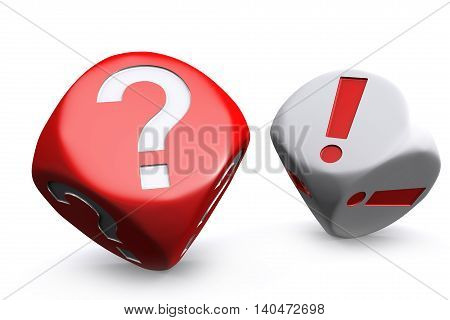 3D illustration of Red question mark dice and white exclamation mark dice on white background