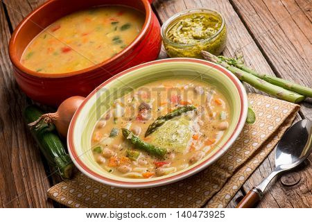 soup vegetable with asparagus and pesto sauce