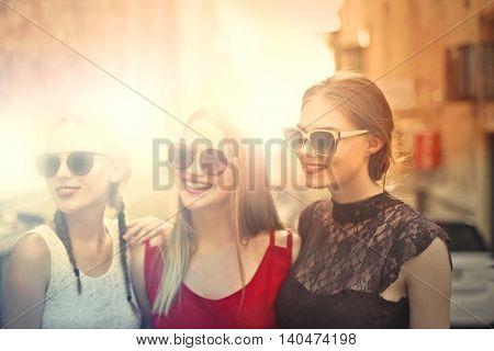 Beautiful blonde girls wearing sunglasses