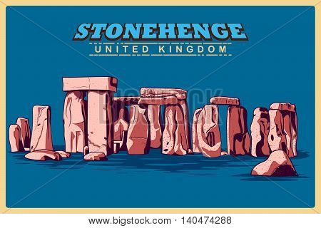 Vintage poster of Stonehenge in Wiltshire, famous monument of United Kingdom. Vector illustration