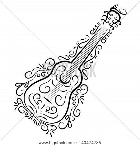 Doodle hand drawn abstract guitar on white background