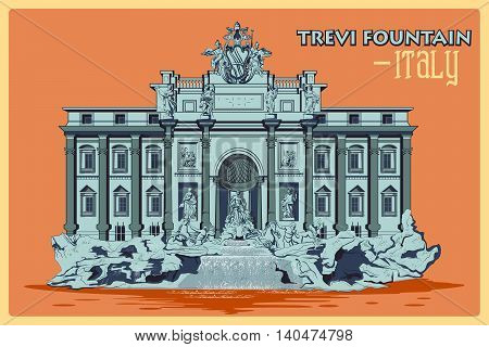 Vintage poster of Trevi Fountain In Rome, famous monument of Italy. Vector illustration