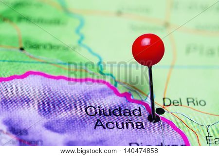 Ciudad Acuna pinned on a map of Mexico