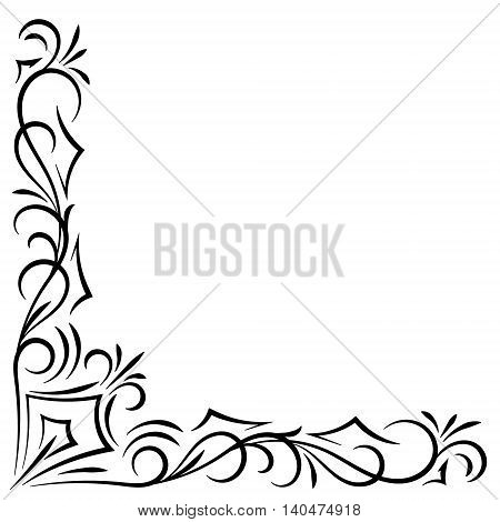 Doodle abstract black handdrawn corner frame on the white background