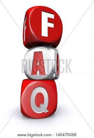 3D illustration of Red and white frequently asked questions dices on white background